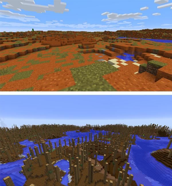 Imagen donde podemos ver dos ejemplos de todos los biomas que agrega el mod Zoesteria Biomes 1.12.2.