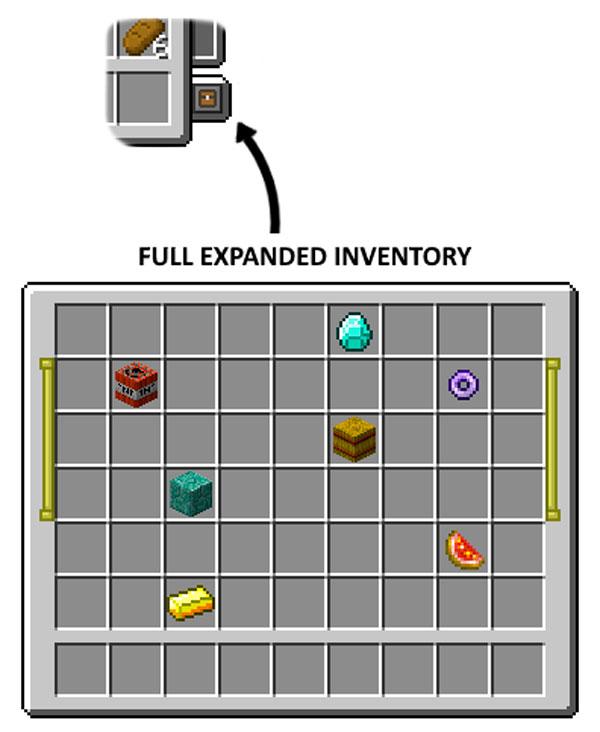 Imagen donde podemos ver el botón de expansión del inventario, añadido por el mod Expandable Inventory 1.12, 1.12.1 y 1.12.2.
