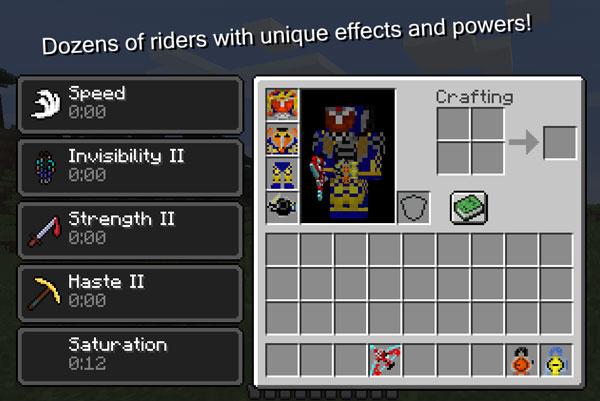 Imagen donde podemos ver algunos de los efectos que proporcionan las armaduras del mod Kamen Rider Craft Mod 1.12.2.