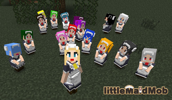 Imagen donde podemos ver el aspecto que tienen las sirvientas del mod LittleMaidMob 1.12.2.