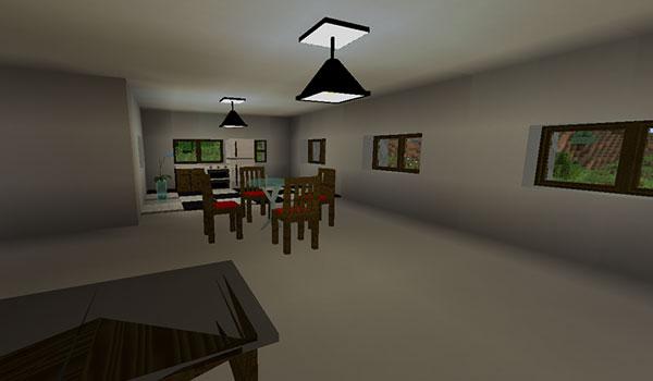 Imagen donde podemos ver una sala comedor, decorada con los elementos decorativos que ofrece el mod Modern Creator 1.12.2.