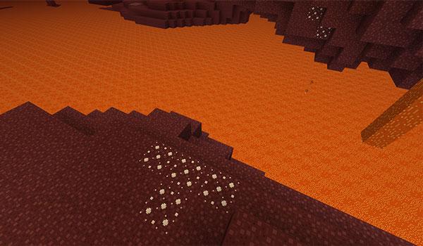 Imagen donde podemos ver el aspecto que tendrá la dimensión del Nether, tras instalar el paquete de texturas Madoku Craft 1.13.