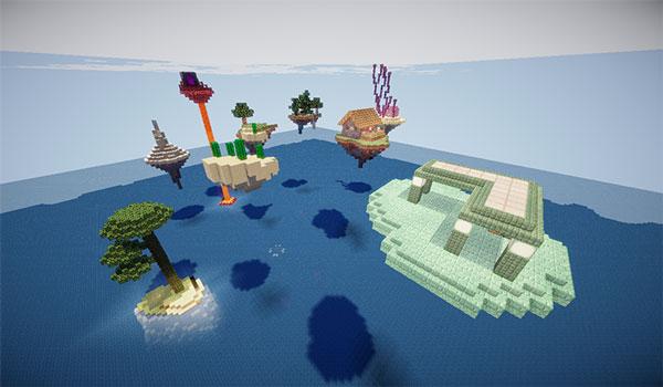 Imagen donde podemos ver un conjunto de pequeñas islas flotantes, con recursos variados, que encontraremos en el mapa SkyBlock: Advanced 1.14.