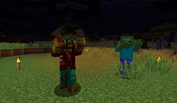 Imagen donde podemos ver dos zombis, uno que representa un zombi normal, y una versión zombificada de nuestro personaje, generado por las funcionalidades que añade el mod Zombie Players 1.12.2.