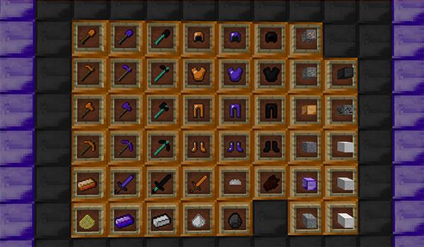 Imagen donde podemos ver todos los bloques y objetos de equipo del personaje que podremos fabricar tras instalar el mod Just A Few More Ores 1.13.2.