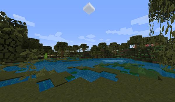 Imagen donde podemos ver el aspecto que tendrá el bioma de pantano con el paquete de texturas RaidenCraft 1.13 y 1.12.