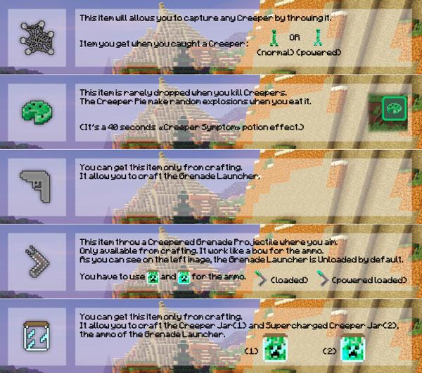Imagen donde podemos ver un ejemplo de los objetos que podremos conseguir al matar un Creeper. Estos servirán para crear nuevos objetos del mod Creeperade 1.13.2.