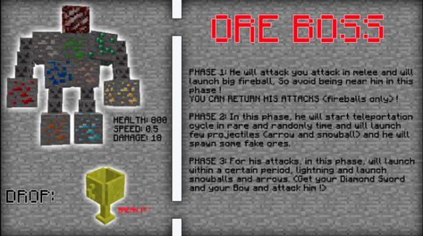 Imagen donde podemos ver información sobre el Ore Boss, el enemigo más poderoso del mod Fake Ores 1.13.2.