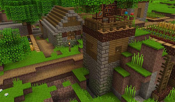 Imagen donde podemos ver el aspecto de un poblado utilizando las texturas de Blockpixel Texture Pack 1.16, 1.15 y 1.12.