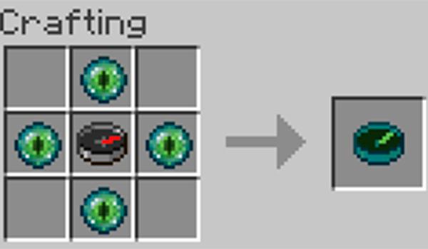 Imagen donde podemos ver cómo se fabrica el nuevo tipo de brújula, para encontrar Strongholds, que añade el mod Ender Compass 1.14.2, 1.14.3 y 1.14.4.