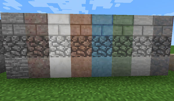 Imagen donde podemos ver un ejemplo de los bloques de construcción que podremos fabricar con los nuevos materiales que añade el mod Underground Biomes 1.14.3.