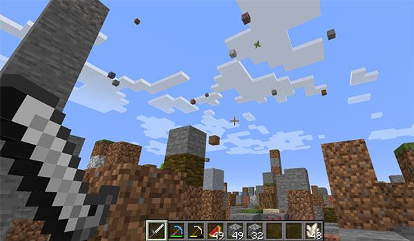 Imagen donde podemos ver a un jugador sobreviviendo en el mundo que genera el mapa Falling Falling 1.14.4.