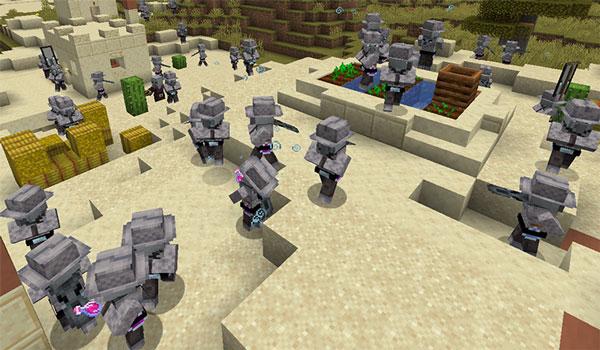 Imagen donde podemos ver a un montón de Guard Illagers dentro de una aldea, generados tras la instalación del mod Guard Illagers 1.14.4.