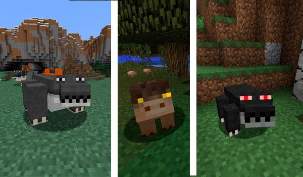 Imagen donde podemos ver a tres de las seis criaturas que añade el mod Mystical Wildlife 1.14.4.