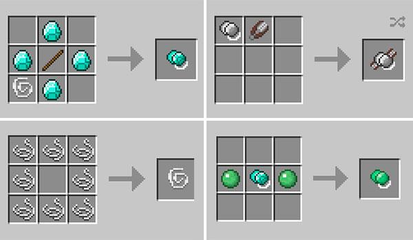 Imagen compuesta por cuatro imágenes que nos muestran cómo se fabrican los diversos yoyos que nos ofrece el mod Yoyos 1.14.4.