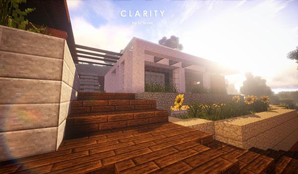 Imagen donde podemos ver una casa moderna, utilizando las texturas de Clarity Texture Pack 1.16, 1.15 y 1.12.