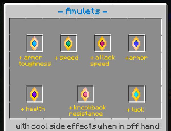 Imagen donde podemos ver algunos de los amuletos que podremos utilizar tras instalar el mod Extra Gems 1.14.4.