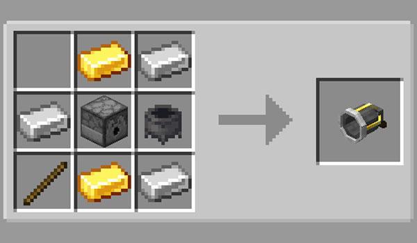 Imagen donde podemos ver la receta necesaria para poder fabricar el Jack 'O Lantern Launcher que añade el mod Jack-O'-Launcher 1.14.4.