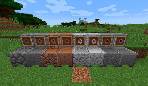 Imagen donde podemos ver una exposición con todas las variantes de calderos de piedra que nos permitirá fabricar el mod More Cauldrons 1.14.4.