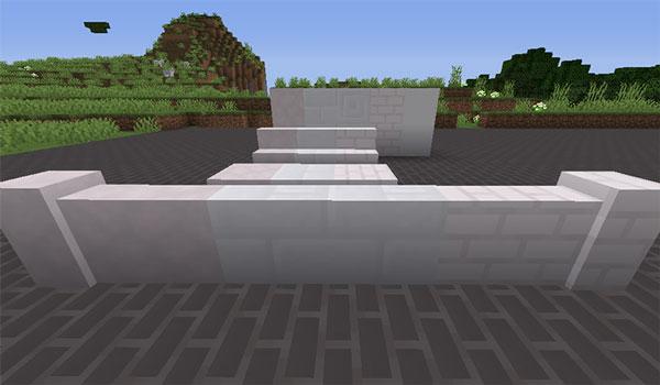 Imagen donde podemos ver un ejemplo de algunos de los materiales de construcción que añade el mod Underground Materials 1.14.4. En este caso se trata de bloques de mármol.