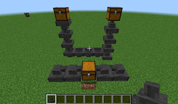 Imagen de ejemplo donde podemos ver un sistema que hace uso de las nuevas tolvas que nos ofrece el mod Uppers 1.14.4.