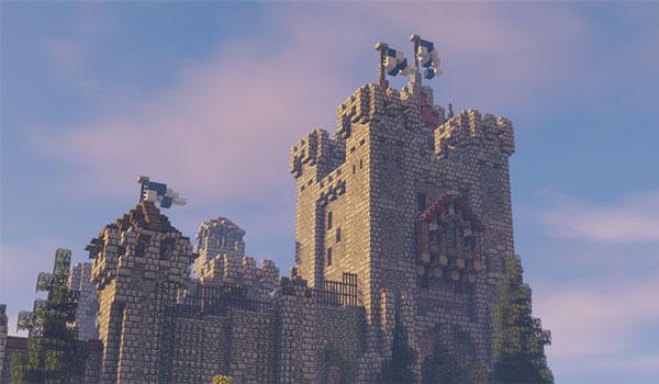 Imagen donde podemos ver el aspecto que puede tener un castillo utilizando Excalibur Texture Pack 1.14 y 1.13.