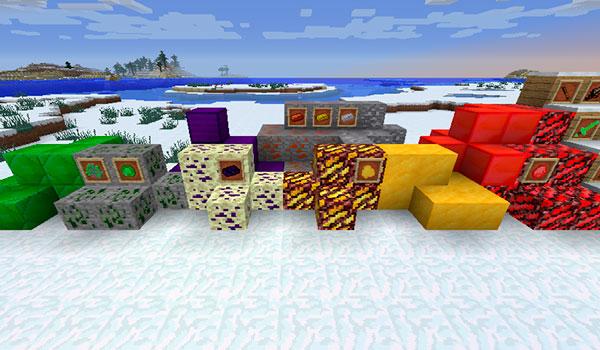 Imagen donde podemos ver una exposición de algunos de los nuevos bloques y recursos minerales que encontraremos después de instalar el mod Forge Your World 1.14.4.