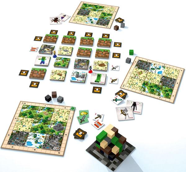 Imagen donde podemos ver todo el contenido de la caja del juego de mesa Minecraft: Builders & Biomes.