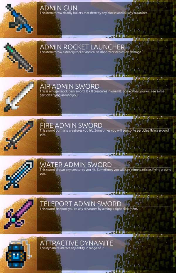 Imagen donde podemos ver algunas de las nuevas armas que podremos utilizar al instalar el mod Admin Weapons 1.14.4.