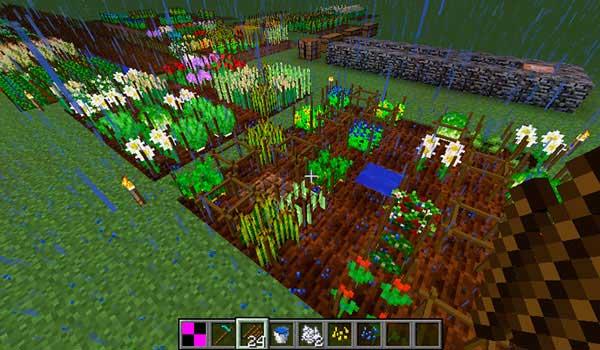 Imagen donde podemos varios huertos que utilizan las funcionalidades y objetos de agricultura que añade el mod AgriCraft 1.12.2.