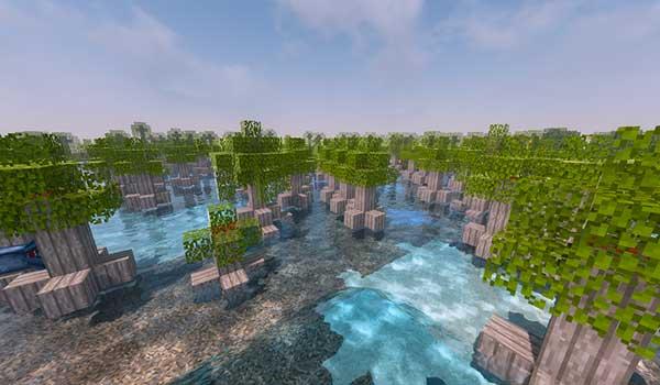 Imagen donde podemos ver un bosque de mangle, añadido por el mod Better Swamplands 1.14.4.