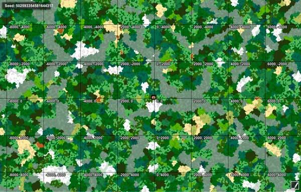 Imagen donde podemos ver un ejemplo de una generación de biomas que principalmente genera biomas verdes, aunque también algún que otro desierto.