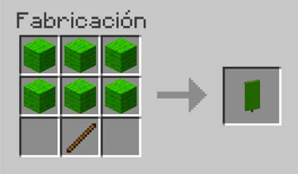 Receta para hacer un estandarte o banner en Minecraft.
