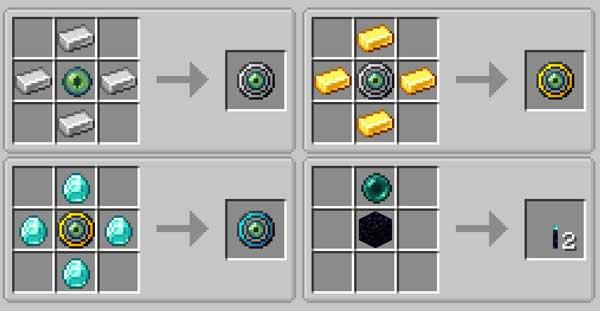 Imagen donde podemos ver todas las recetas, o crafteos, de los diversos anillos magnéticos que podremos fabricar con el mod Ender Magnet 1.14.3 y 1.14.4.