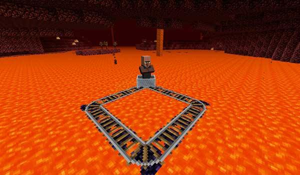 Imagen donde vemos un sistema de vías flotantes sobre la lava del Nether, gracias a las vías flotantes que añade el mod Floating Rails 1.12.2.