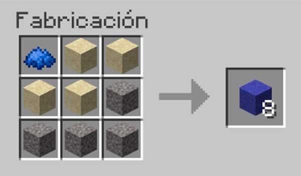 Receta para hacer cemento en Minecraft.