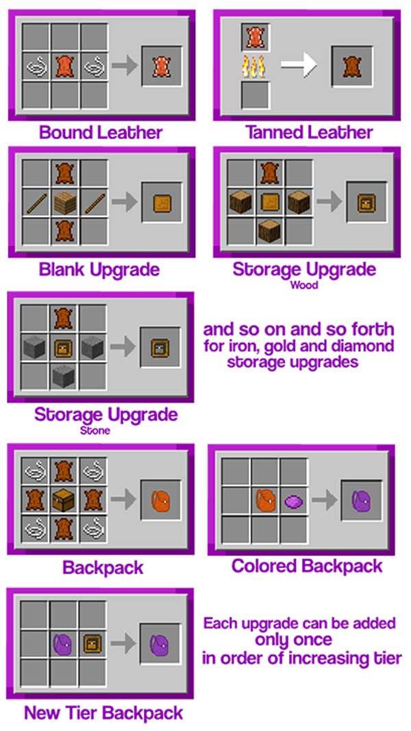 imagen donde podemos ver el proceso da fabricación de una de las mochilas que nos ofrece el mod Improved Backpacks 1.12, 1.12.1 y 1.12.2.