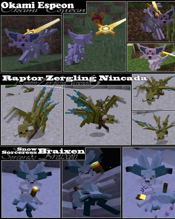 Imagen compuesta donde podemos ver algunos de los Pokémon que nos encontraremos al instalar el mod Kindred Legacy 1.12.2.