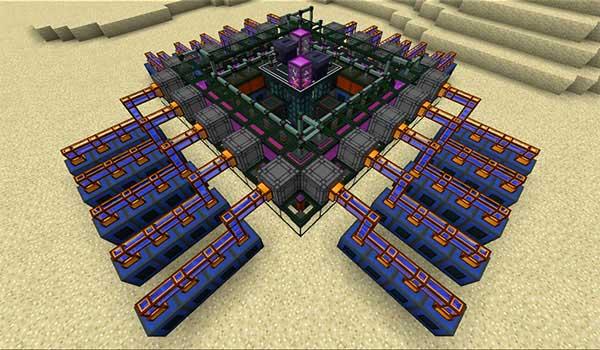 Imagen donde podemos ver un sistema de enfriamiento del reactor de fusión que añade el mod NuclearCraft 1.12.2.