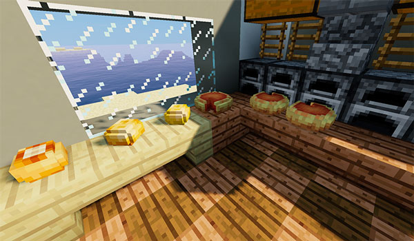Imagen donde podemos ver una cocina, con elementos de comida sobre la mesa, gracias al mod Placeable Items 1.14.4.