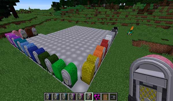 Imagen donde podemos ver los distintos colores de tocadiscos que podremos fabricar con el mod r2s Radio 1.12, 1.12.1 y 1.12.2.