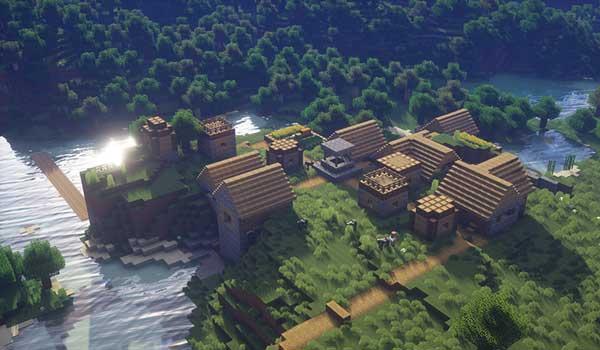 Imagen donde podemos ver el alto grado de realismo que aportan las texturas R3D Craft 1.12, 1.11 y 1.10, en una vista aérea de un poblado.