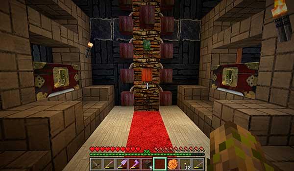 Imagen donde vemos el interior de una construcción, utilizando las texturas Real Stuff 64 Texture Pack 1.12 y 1.11.