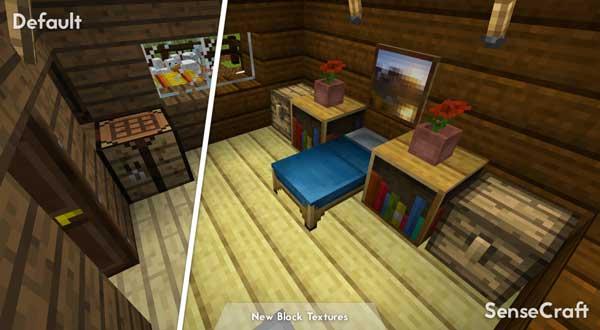 Imagen donde podemos ver el aspecto que tiene el interior de una vivienda con el paquete de texturas SenseCraft 1.15, 1.14 y 1.12.