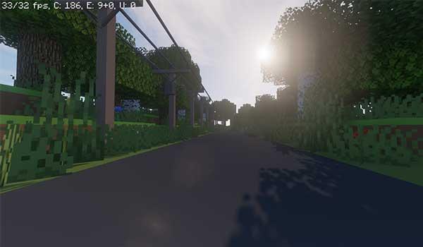 Imagen donde podemos ver una recreación de una carretera, en Minecraft, utilizando el paquete de texturas Simpalcraft 1.14 y 1.13.