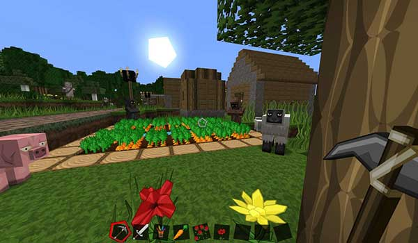 Imagen donde podemos ver el aspecto que tiene un poblado, el aspecto de los cerdos, ovejas y aldeanos, tras instalar Sphax PureBDCraft Texture Pack 1.14, 1.13 y 1.12.