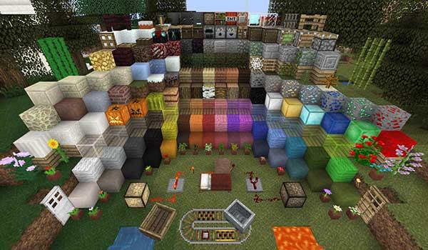 Imagen donde podemos ver una exposición de todos los bloques del juego, decorados con las texturas de Unity Texture Pack 1.14, 1.13 y 1.12.