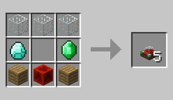 Imagen donde podemos ver el proceso da fabricación del bloque que añade el mod Chance Globe 1.15.1 y 1.15.2.