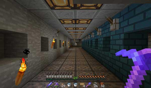 Imagen donde vemos un jugador caminando por el interior de un pasadizo, todo decorado con las texturas de Legend 1.16.