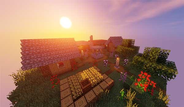 Imagen donde podemos ver una puesta de sol desde una de las islas flotantes del mapa Spawncube 1.15 y 1.14.